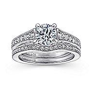 Meriel 18k White Gold Round Straight Engagement Ring angle 4