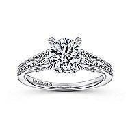Meriel 18k White Gold Round Straight Engagement Ring angle 5