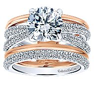 Merliah 18k White And Rose Gold Round Split Shank Engagement Ring angle 4