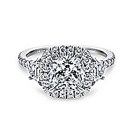 Mia 14k White Gold Cushion Cut 3 Stones Halo Engagement Ring angle 1