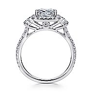 Mia 14k White Gold Cushion Cut 3 Stones Halo Engagement Ring angle 2
