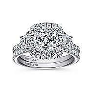 Mia 14k White Gold Cushion Cut 3 Stones Halo Engagement Ring angle 4