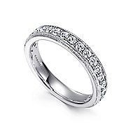 Micro Pave  Classic Diamond Ring in 14K White Gold