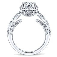 Milan 14k White Gold Round Halo Engagement Ring angle 2
