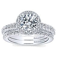 Milan 14k White Gold Round Halo Engagement Ring angle 4