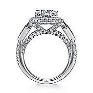 Mildred 18k White Gold Round 3 Stones Halo Engagement Ring