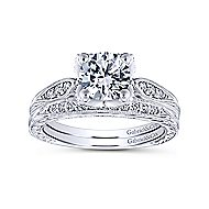 Millie 14k White Gold Round Straight Engagement Ring angle 4