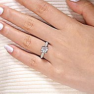 Millie 14k White Gold Round Straight Engagement Ring angle 6