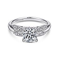 Mimosa 18k White Gold Round Straight Engagement Ring