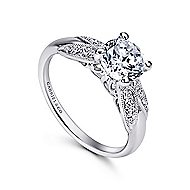 Mimosa 18k White Gold Round Straight Engagement Ring angle 3