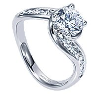 Mita 18k White Gold Round Bypass Engagement Ring angle 3