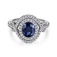 Mogul 14k White Gold Oval Halo Engagement Ring