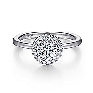 Moira 14k White Gold Round Halo Engagement Ring