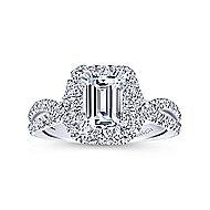 Monique 14k White Gold Emerald Cut Halo Engagement Ring angle 5