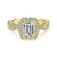 Monique 14k Yellow Gold Emerald Cut Halo Engagement Ring angle 1