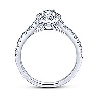 Montecito 14k White Gold Round Halo Engagement Ring angle 2
