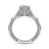 Montgomery 14k White Gold Round Halo Engagement Ring angle 2