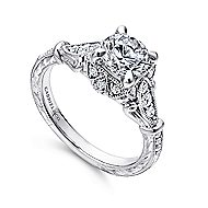 Montgomery 14k White Gold Round Halo Engagement Ring angle 3