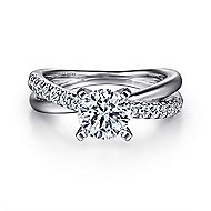 Morgan 14k White Gold Round Twisted Engagement Ring angle 1