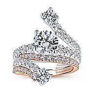 Mosaic 18k White Gold Round Split Shank Engagement Ring angle 4
