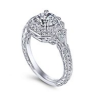 Myrna 14k White Gold Round Halo Engagement Ring