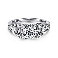 Myrtle 14k White Gold Round Straight Engagement Ring angle 1