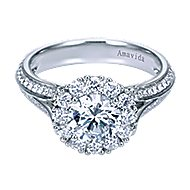 Nadia 18k White Gold Round Halo Engagement Ring angle 1