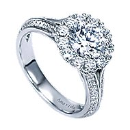 Nadia 18k White Gold Round Halo Engagement Ring angle 3