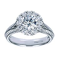 Nadia 18k White Gold Round Halo Engagement Ring angle 5