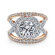 Naples 18k White And Rose Gold Round Split Shank Engagement Ring angle 1