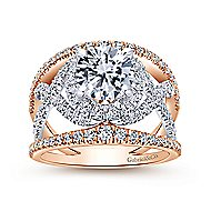 Naples 18k White And Rose Gold Round Split Shank Engagement Ring angle 5