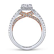 Natalia 14k White And Rose Gold Princess Cut Straight Engagement Ring