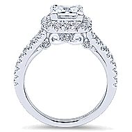 Nature 18k White Gold Princess Cut Halo Engagement Ring angle 2