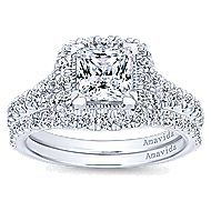 Nature 18k White Gold Princess Cut Halo Engagement Ring angle 4