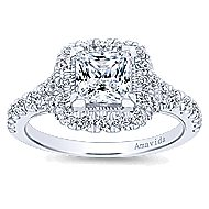Nature 18k White Gold Princess Cut Halo Engagement Ring angle 5