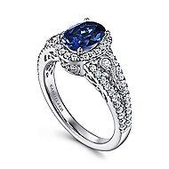 Nayana 14k White Gold Oval Halo Engagement Ring