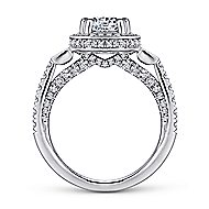 Nellie 14k White Gold Round 3 Stones Halo Engagement Ring angle 2