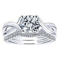 Nerine 14k White Gold Round Twisted Engagement Ring angle 4