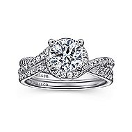 Nerissa 14k White Gold Round Halo Engagement Ring angle 4