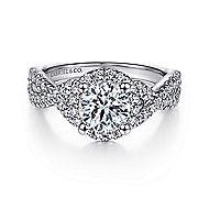 Newbury 14k White Gold Round Halo Engagement Ring angle 1