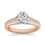 Nicola 14k White And Rose Gold Oval Straight Engagement Ring angle 5