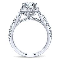 Nigella 14k White Gold Cushion Cut Halo Engagement Ring angle 2
