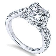 Nigella 14k White Gold Cushion Cut Halo Engagement Ring