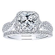 Nigella 14k White Gold Cushion Cut Halo Engagement Ring angle 4