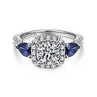 Nightshade 14k White Gold Round 3 Stones Halo Engagement Ring angle 1