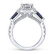 Nightshade 14k White Gold Round 3 Stones Halo Engagement Ring angle 2