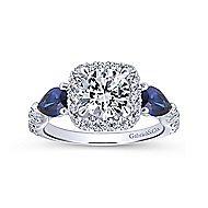 Nightshade 14k White Gold Round 3 Stones Halo Engagement Ring angle 5