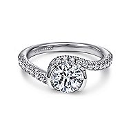 Nikko 14k White Gold Round Bypass Engagement Ring angle 1