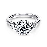 Noelle 14k White Gold Round 3 Stones Halo Engagement Ring angle 1