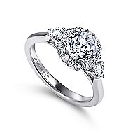 Noelle 14k White Gold Round 3 Stones Halo Engagement Ring angle 3
